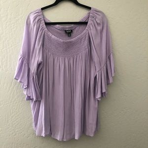 A.N.A Wide Ruffled Sleeve Lavender Top